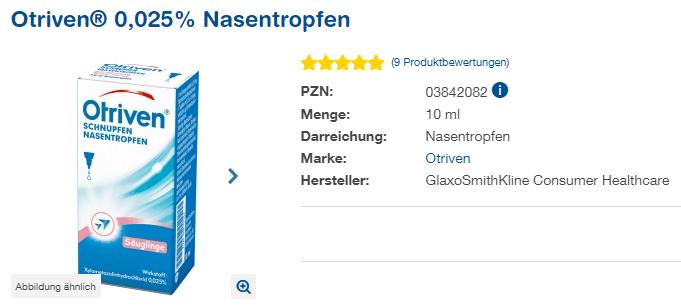 Đánh giá thuốc nhỏ mũi Otriven Nasentropfen 0,025%